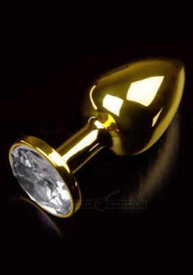 plug anale gold  small            gioiello swarowsky bianco